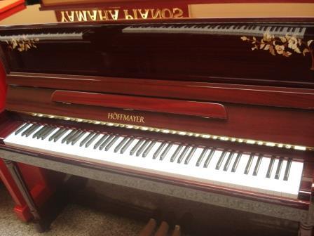 """Pianoforte """"Hoffmayer"""", NUOVO, Mogano lucido con intarsio!!"""